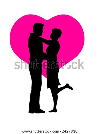 Romantic couple silhouette