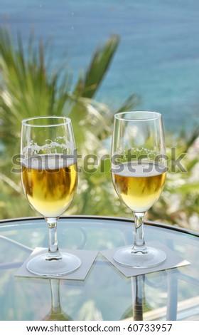 Romantic Couples Wedding Anniversary Celebration Cocktail Beers - stock photo