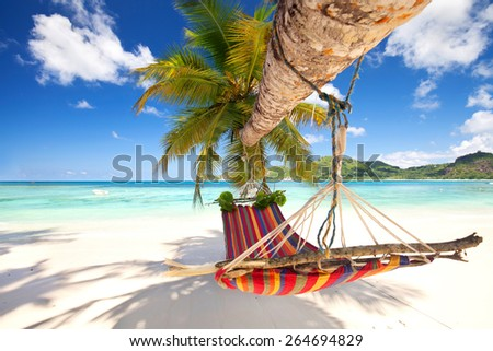 Romantic cozy hammock in the shadow of the palm on the tropical beach by the sea - stock photo