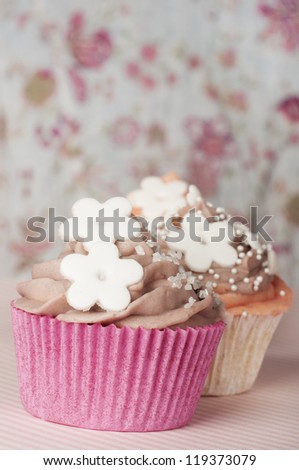 romantic cupcake with whipped cream - stock photo