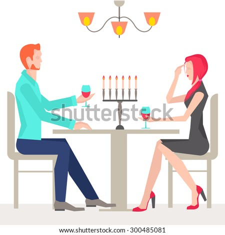 Romantic date, couples in love, in the restaurant with candles and wine. It can be used for advertising or design site design.  illustration - stock photo