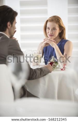 romantic dating at restaurant - stock photo
