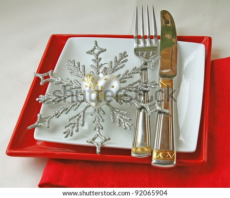 Romantic decoration of winter holiday table - stock photo