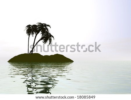 Romantic Desert Island with Palm Tree against the Horizon - stock photo