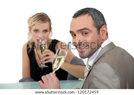 romantic dinner at restaurant - stock photo