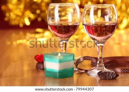 Romantic dinner, closeup - stock photo