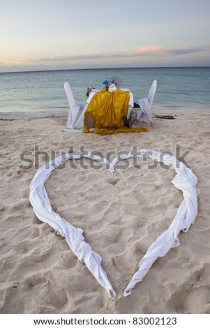 Romantic Dinner for Two at the Beach - stock photo