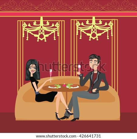 romantic dinner in a restaurant - stock photo