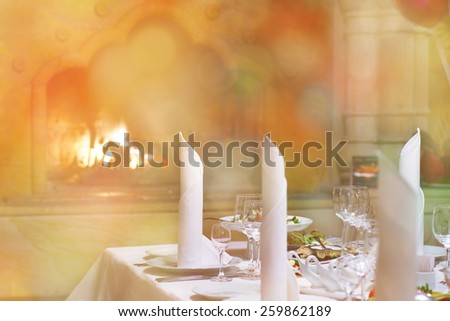 Romantic dinner in the room near the fireplace.