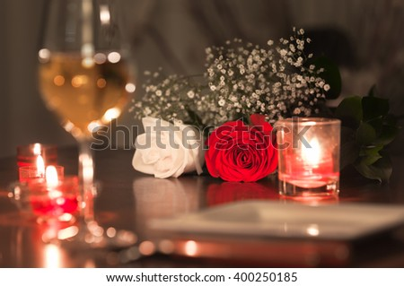 Romantic dinner setting.  - stock photo