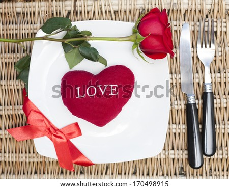 Romantic Dinner.Table place setting for Valentine's Day - stock photo