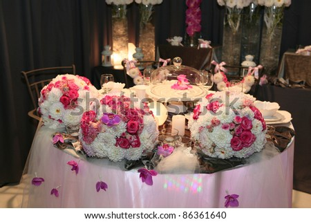 Romantic dinner table prepared for newlyweds