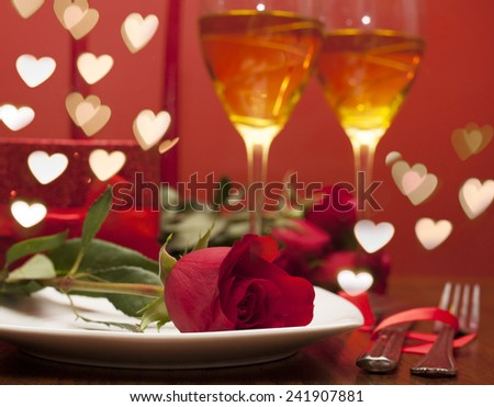 Romantic Dinner with hearts. Table place setting for Valentine's Day - stock photo