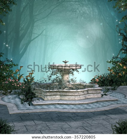 Romantic enchanted forest - stock photo