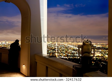 Romantic evening at Griffith Observatory - stock photo