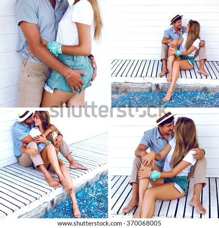 Romantic fashion collage of sensual couple in love enjoy their sea tropical vacation, hugs and kisses, beauty lovers, joy, summertime, surprise , valentine day. Blue and white colors. - stock photo