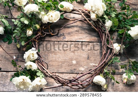 Romantic floral frame with roses - stock photo