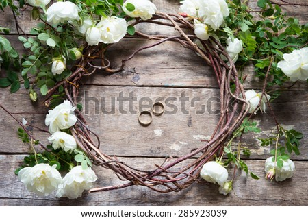 Romantic floral frame with white roses - stock photo