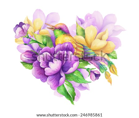 romantic floral heart with small yellow bird, watercolor flowers and leaves illustration, Valentines day greeting card - stock photo