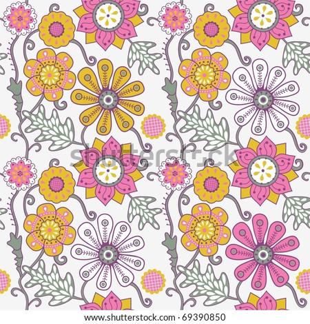 Romantic floral seamless pattern. - stock photo