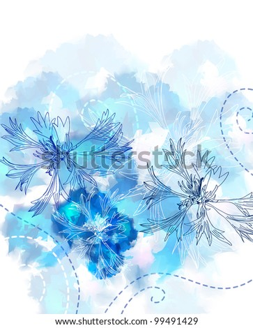 Romantic Flower Background with cornflower