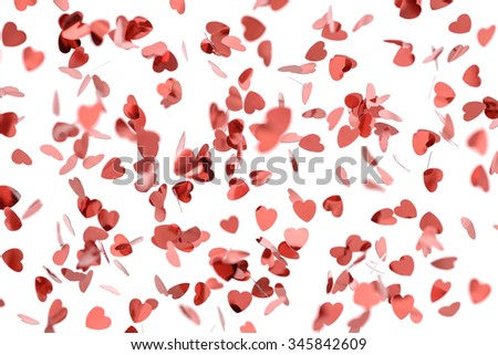 Romantic flying swirling red hearts - stock photo