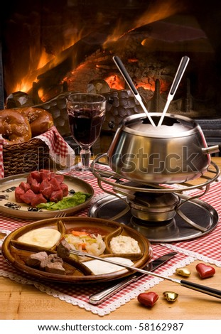 romantic fondue - stock photo