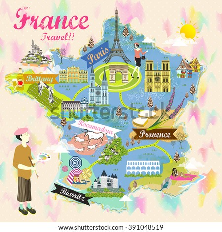 romantic France travel map with attraction symbols