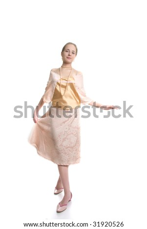 romantic girl in pink dress over white
