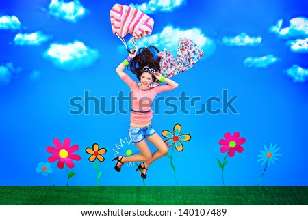 Romantic girl is flying through the blue sky. - stock photo
