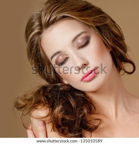 romantic girl with beautiful makeup - stock photo