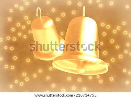 romantic golden wedding bells on abstract background - stock photo