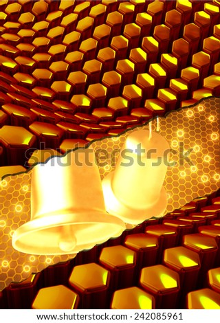 romantic golden wedding bells on abstract background - stock photo