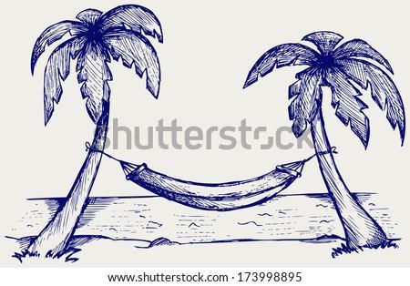 Romantic hammock between palm trees. Doodle style. Raster version - stock photo