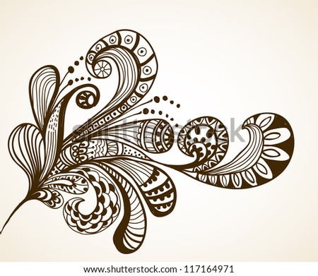 Romantic hand drawn floral background, illustration design