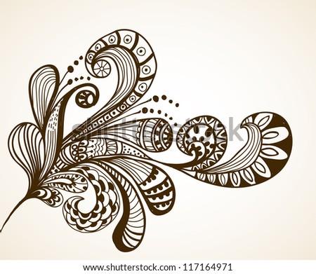 Romantic hand drawn floral background, illustration design - stock photo