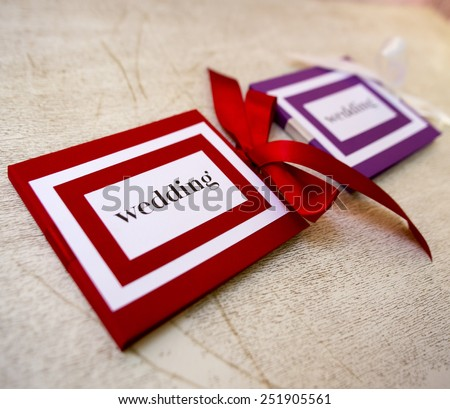 Romantic handmade greeting on wedding - stock photo