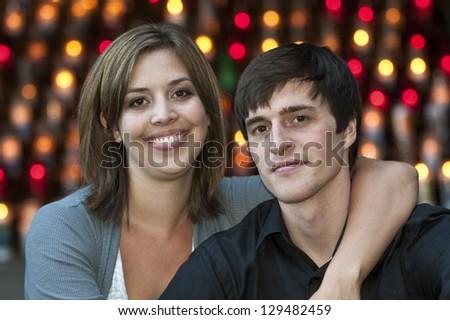 Romantic happy couple embracing - stock photo