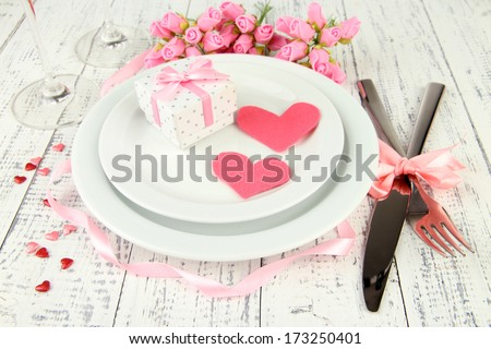 Romantic holiday table setting, close up - stock photo