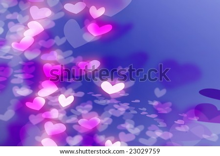 Romantic illustration with pink, white and purple hearts
