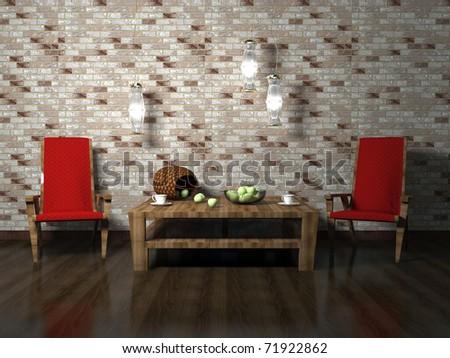 Romantic interior design of modern living room, 3d rendering - stock photo