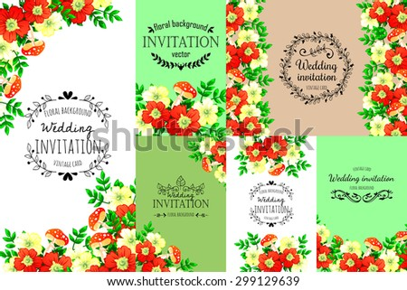 Romantic invitation. Delicate invitation card of beautiful flowers. Easy to edit. Perfect for invitations or announcements. - stock photo