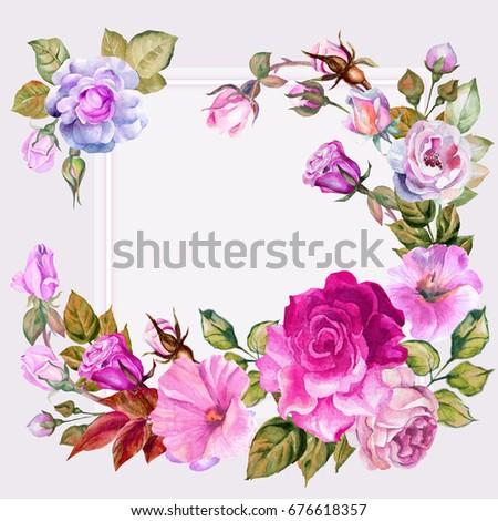 Romantic invitation template design watercolor flowers stock romantic invitation template design with watercolor flowers stopboris Image collections