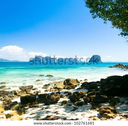 Romantic Island Heaven On Earth - stock photo