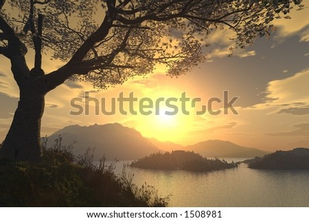 romantic landscape - stock photo