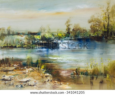 Romantic landscape with lakes, art oil painting - stock photo