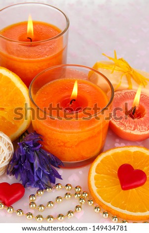 Romantic lighted candles close up