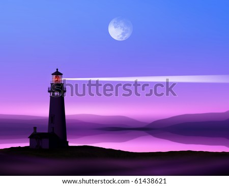 romantic lighthouse near Atlantic seaboard shining at night in the bright of the moon - stock photo