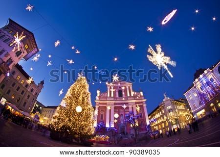 Romantic Ljubljana's city centre  decorated for Christmas fairytale. Preseren's square, Ljubljana, Slovenia, Europe. - stock photo