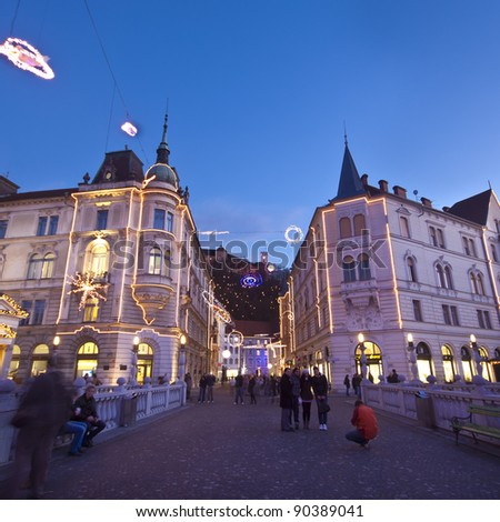 Romantic Ljubljana's city centre, the capital of Slovenia, decorated for Christmas holidays.